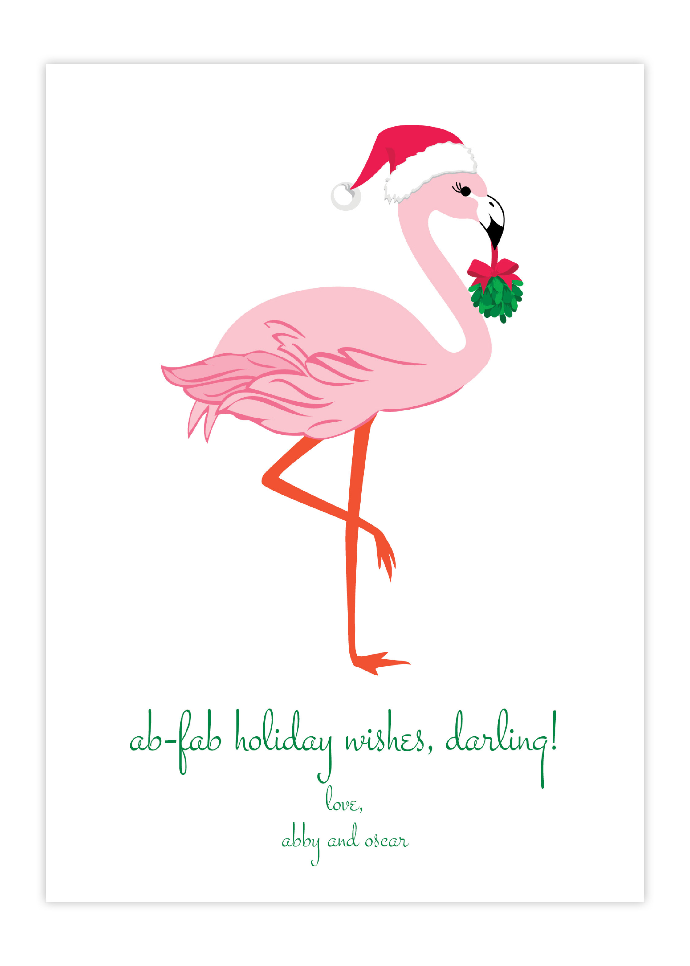 Ab Fab Flamingo Greeting Card