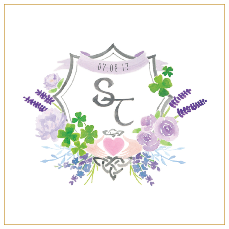 Stacie and Tim Watercolor Wedding Monogram