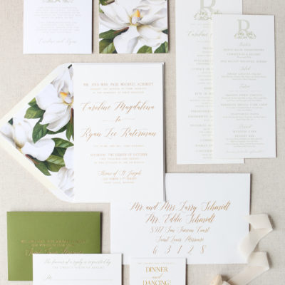 Caroline and Ryan's Magnolia Wedding Invitation